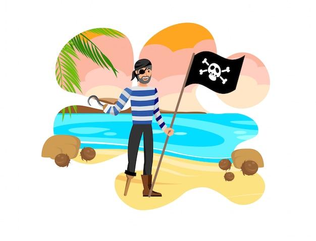 Старый пират держит черный флаг векторная иллюстрация