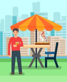 Человек, имеющий обед в пиццерии векторная иллюстрация