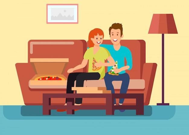 自宅でデートを持っているカップルベクトルイラスト