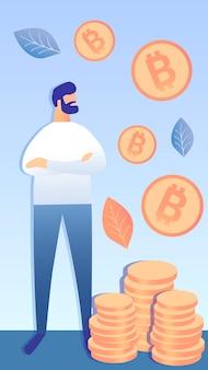 Успешная биткойн инвестиционная векторная иллюстрация