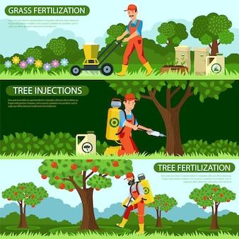 Установите оплодотворение травы и инъекции деревьев.