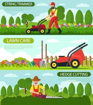 Установите триммер для струн и уход за газоном.