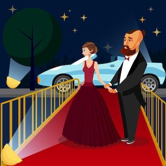 Девушка в роскошном вечернем платье на свидании.