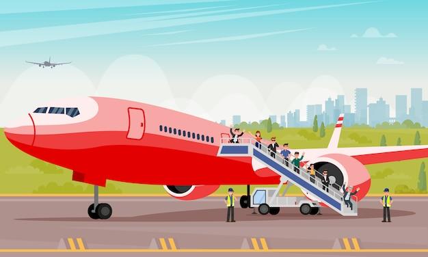 Пассажиры вылезать лестница с плоским иллюстрации.