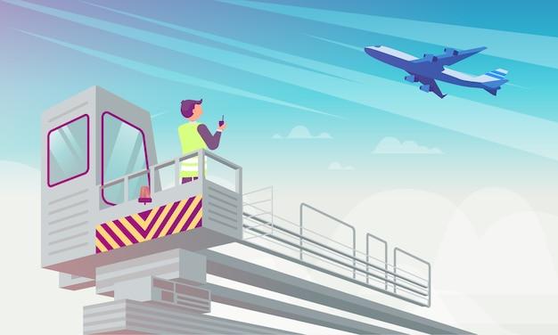 Менеджер аэропорта смотрит на плоскости плоской иллюстрации.