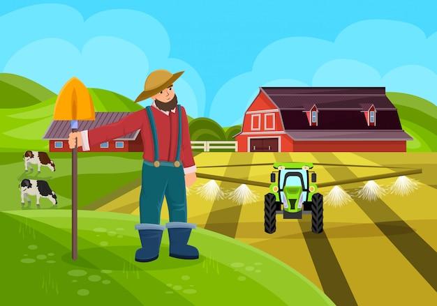 シャベルで農場労働者