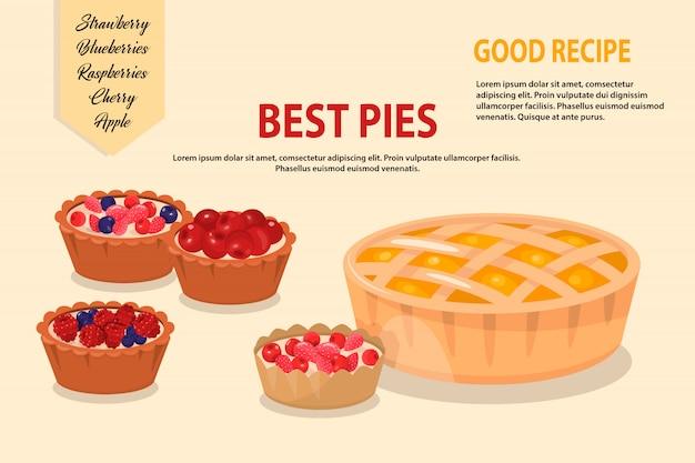 Векторная иллюстрация мультяшный пироги
