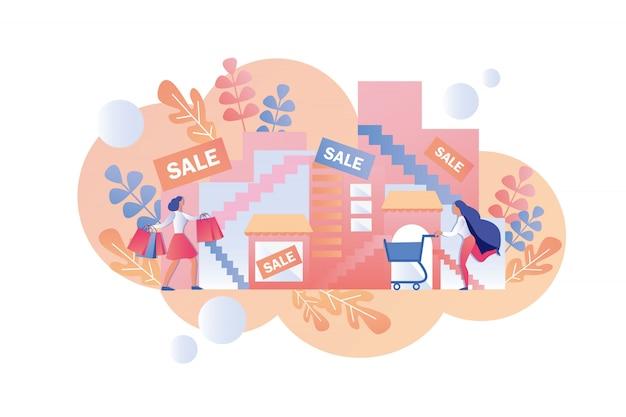 幸せな女性は季節限定セールのショッピングモールに行きます。