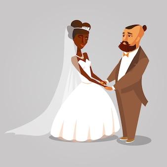 褐色肌の妻のベクトル文字