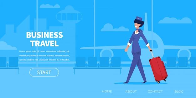 Мультфильм женщина стюардесса в униформе с чемоданом