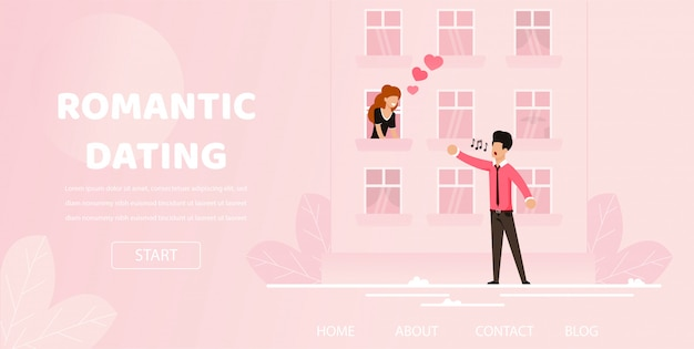 ボーイフレンドロマンチックな歌セレナーデを女の子に歌う