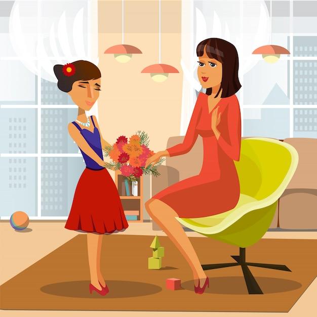 花の束を与える少女ベクトルイラスト。