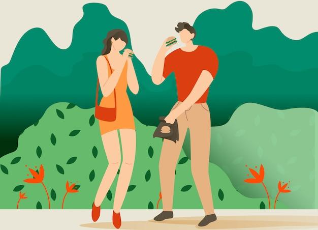男の子と女の子の公園漫画でハンバーガーを食べます。
