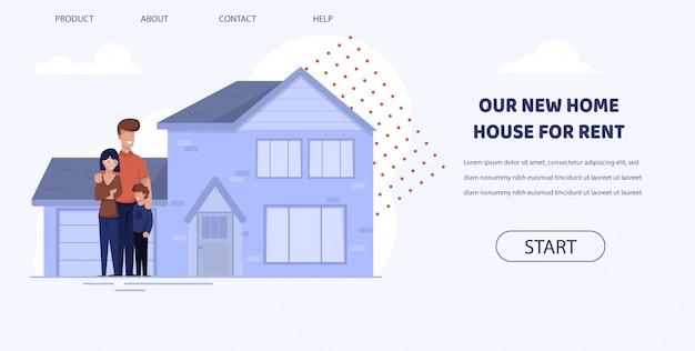 フラットバナーは賃貸料のための私達の新しい家の家を書かれています