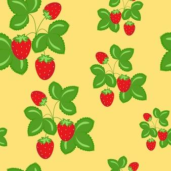 熟した野生のイチゴのシームレスなパターンベクトル
