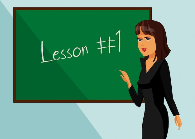 教室の授業の図で講師の学生。