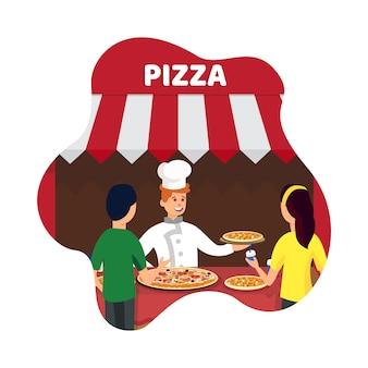 イタリア料理キオスクフラットベクトル図