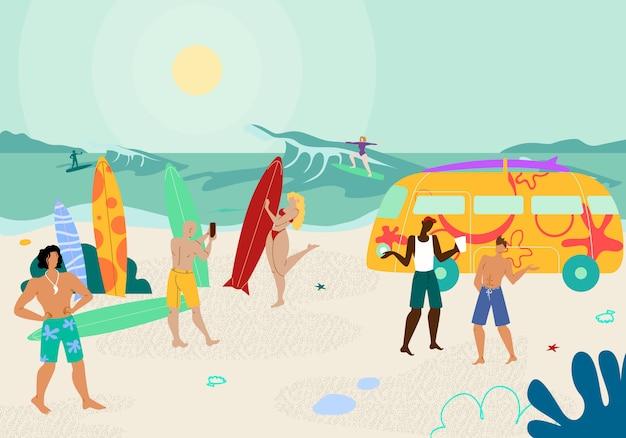Пляжная вечеринка с людьми, наслаждающимися жарким летним временем.