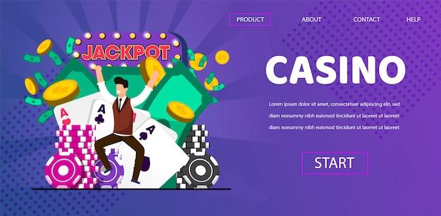 幸せな幸運な男の勝者はカジノで大当たりをヒット