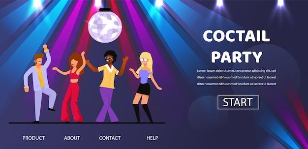 Друзья танцуют в коктейле ретро вечеринка ночной клуб