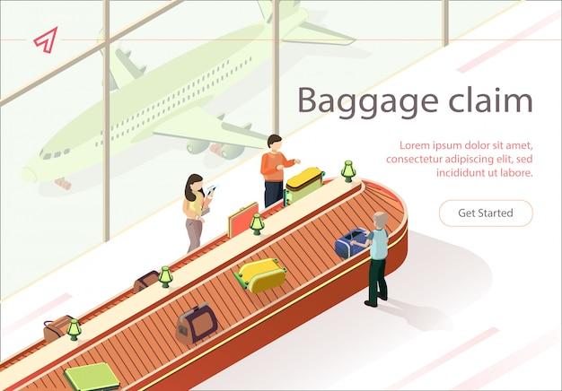 フラットイラスト手荷物受取所荷物を集める。
