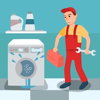 Сломанная протекающая стиральная машина и сантехник