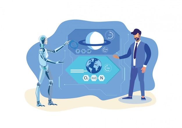 ロボットヘルパー、科学者フラットベクトル図