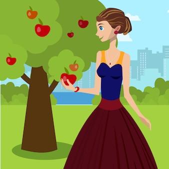 赤いリンゴのベクトル図を保持している若い女性。