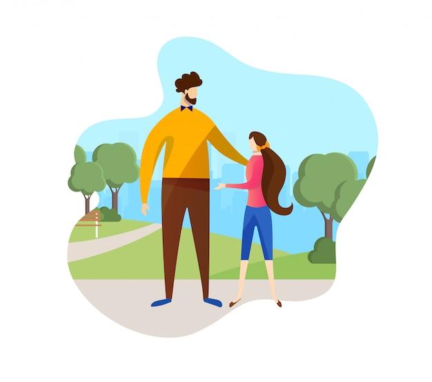 父と娘が公園を散歩して時間を過ごします。