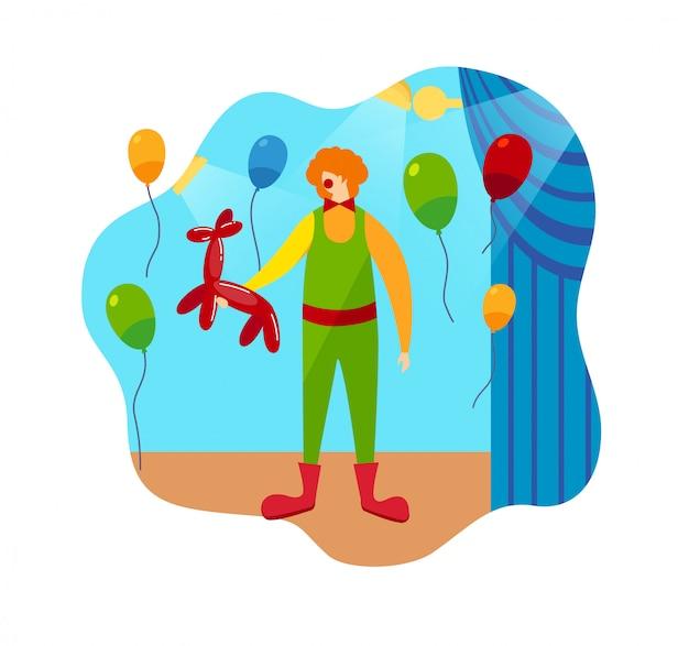 Прикольный персонаж-клоун и цирковые сценические аксессуары