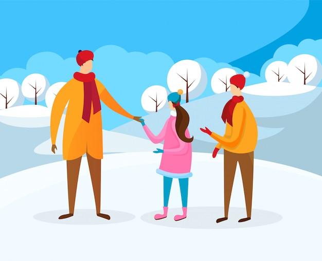 男の子と女の子が冬に父と一緒に歩いて