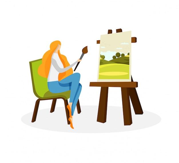 Симпатичная женщина-художник рисует акриловыми красками на холсте