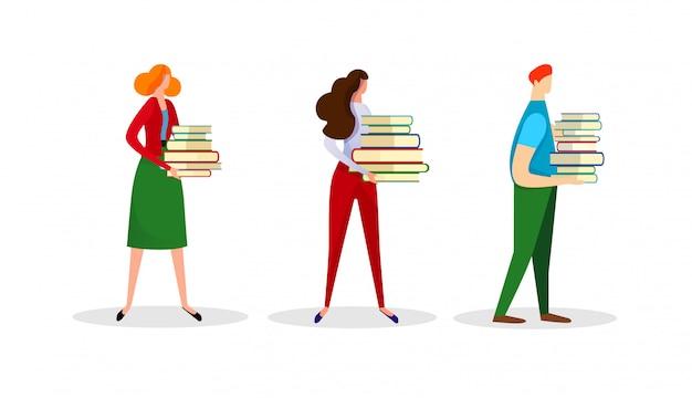 男性と女性の文字のセットは本のヒープを保持します。