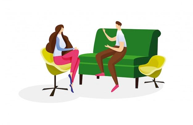 愛情のある男と女のカップルの暖かい会話。