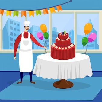 巨大な美しいお祝いケーキを提示する男シェフ。