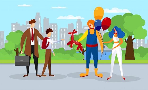 Летние детские развлечения в городском парке. клоун шоу