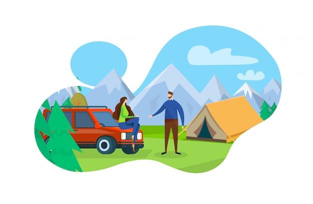 山の自然の風景にテントでキャンプ。