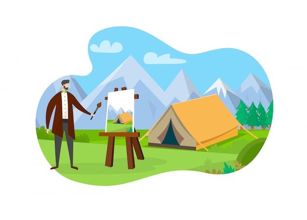 キャンバスとイーゼルの前に立っている男性アーティスト。