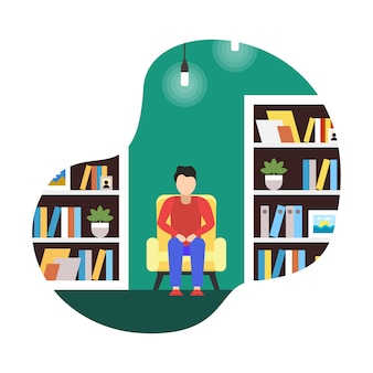 Плоская иллюстрация коворкинг библиотека, мультфильм.
