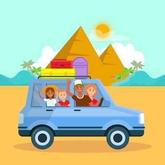 エジプトでの家族の休暇ベクトル旅行はがき。