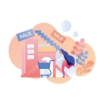 販売ショッピング広告要素のために急いでいる女性