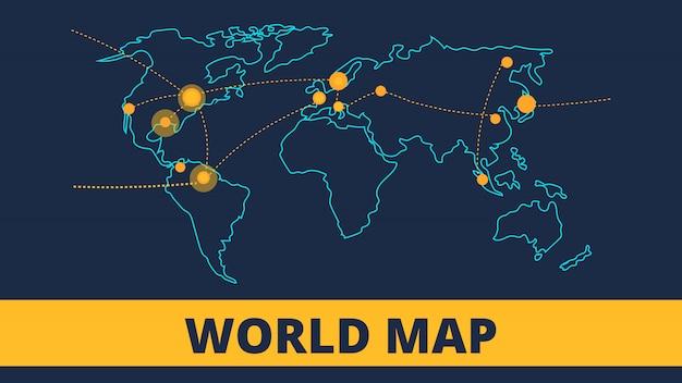 航空交通監視のベクトルの背景。世界地図
