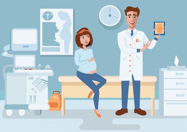 医者は超音波画像妊婦を示しています。