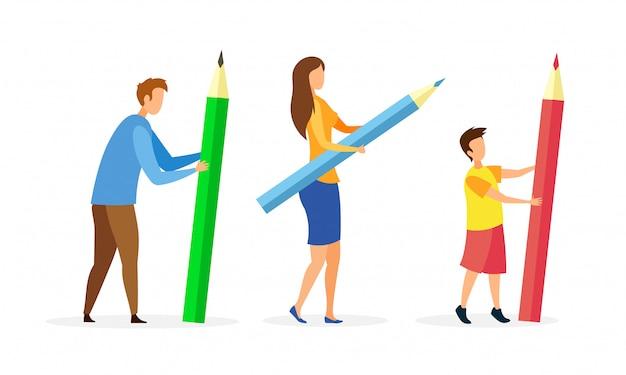 Люди держат в руках огромные персонажи мультфильмов карандаши