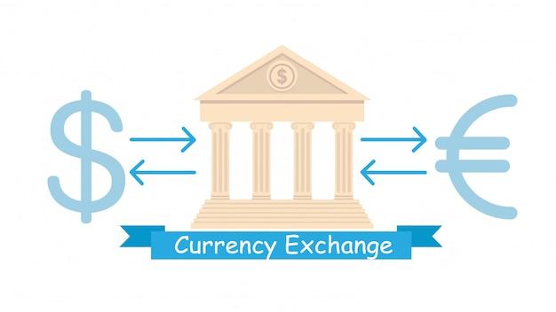 Обмен валюты бизнес плоский плакат концепция