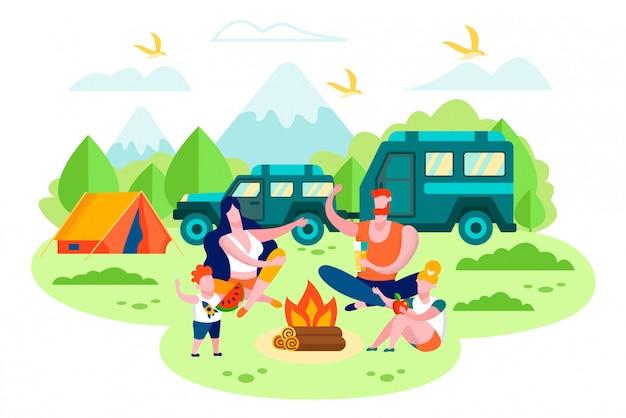 家族の車のトレーラーのベクトルの概念とキャンプ