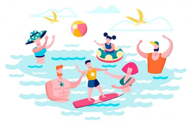 海水で楽しんでいる人フラットベクトルの概念