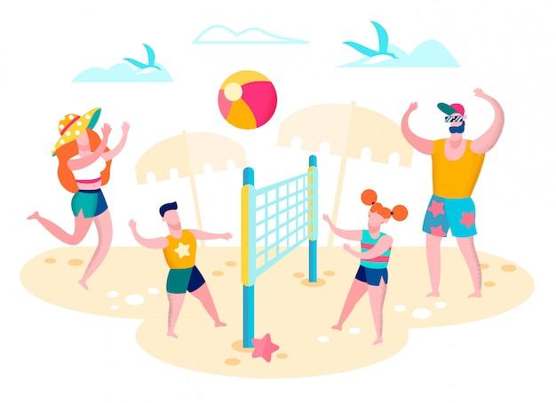 Семья играет в волейбол на пляже векторный концепт