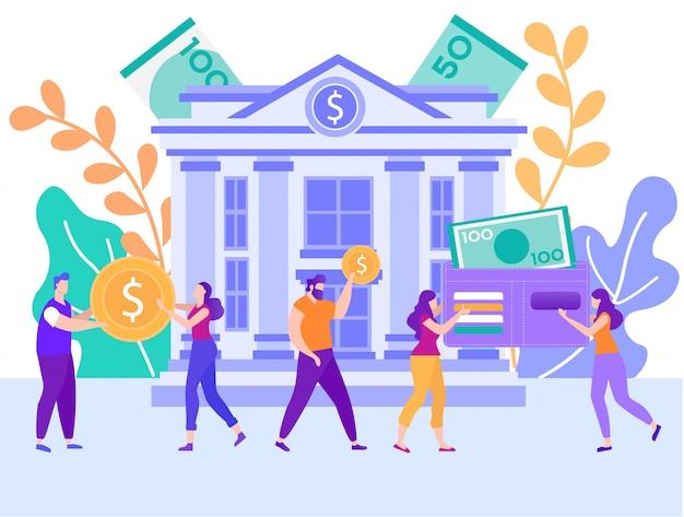 Банк кредит, потребительский кредит плоский вектор концепция