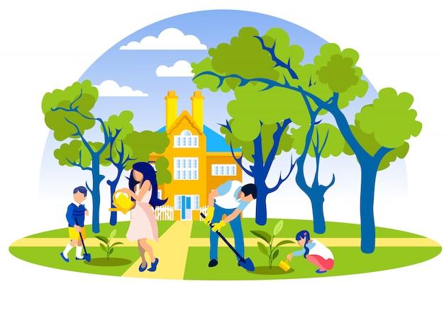 家族は美しい家の前に木を植えます。